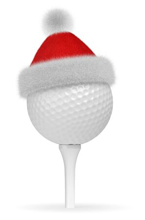 white fur: New Year and Christmas holidays sport leisure creative concept: white golf ball on tee in Santa Claus red hat with red and white fur isolated on white backgroung 3d illustration
