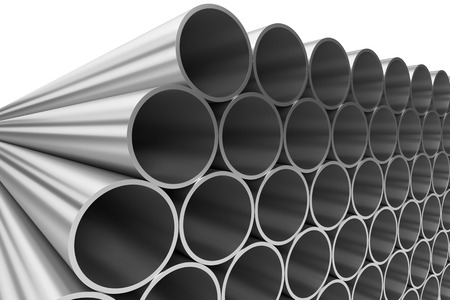 steel industry: Manufacturing industry business production and heavy metallurgical industrial products creative abstract illustration: many shiny steel pipes lying in rows isolated on white, 3D illustration