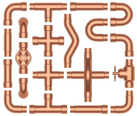 fittings: Copper pipeline construction details collection: copper pipes, valves, tubes, fittings, couplers and other copper pipeline elements set isolated on white background, industrial 3d illustration