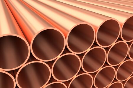 heavy metal: Heavy metallurgical industry production and non-ferrous industrial products creative abstract illustration: many stainless metal shiny copper pipes lying in rows, creative industrial 3D illustration