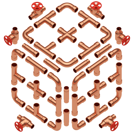 junction pipe: Copper pipeline construction details collection: copper pipes, valves, tubes, fittings, couplers and other copper pipeline elements set isolated on white diagonal view, industrial 3d illustration