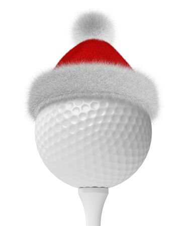 white fur: New Year and Christmas holidays sport leisure creative concept: white golf-ball on tee in Santa Claus fluffy red hat with red and white fur isolated on white backgroung 3d illustration