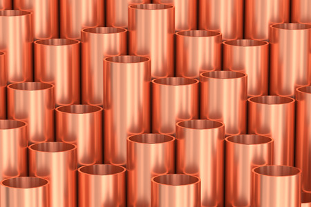 industrial construction: Heavy metallurgical industry production and non-ferrous industrial products creative abstract illustration: many stainless metal shiny copper pipes creative industrial background, 3D illustration