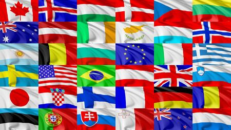 Collection of world countries flags flying in the wind, 3d illustration set