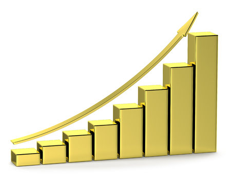 Financial growth, investment success and financial business and banking development concept: growing bar chart made of gold with upward arrow with reflections isolated on white, 3d illustration