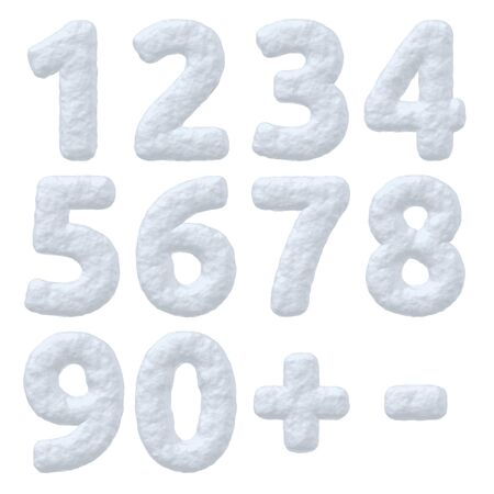 styled: Abstract creative snowy winter decoration elements collection: set of snow numbers, digits and signes isolated on white background, 3d illustration Stock Photo