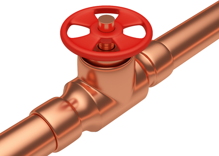 gas pipeline: Plumbing or gas pipeline industrial metal construction: red valve on copper pipe of copper pipeline isolated on white background, industrial 3D illustration, diagonal view