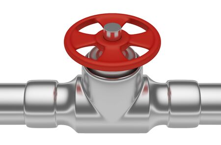 steel pipe: Plumbing or gas pipeline industrial metal construction: red valve on steel pipe of steel pipeline isolated on white background closeup, industrial 3D illustration