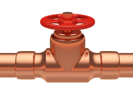 gas pipeline: Plumbing or gas pipeline industrial metal construction: red valve on copper pipe of copper pipeline isolated on white background, industrial 3D illustration