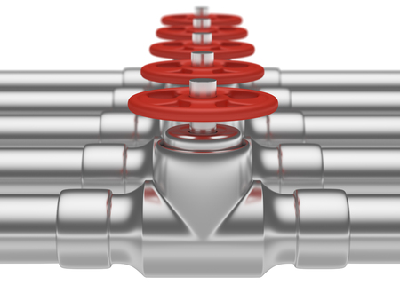 gas pipeline: Abstract creative plumbing or gas pipeline industrial concept: steel pipes series with red valves and selective focus effect, focuse on valve with shallow depth of field, industrial 3D illustration Stock Photo