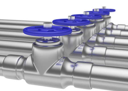 gas pipeline: Abstract creative plumbing or gas pipeline industrial concept: steel pipes series with blue valves and selective focus effect, focuse on valve with shallow depth of field, industrial 3D illustration