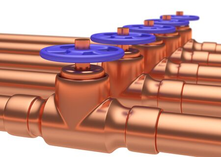 gas pipeline: Abstract creative plumbing or gas pipeline industrial concept: copper pipes series with blue valves and selective focus effect, focuse on valve, shallow depth of field, industrial 3D illustration