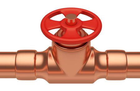 copper pipe: Plumbing or gas pipeline industrial metal construction: red valve on copper pipe of copper pipeline isolated on white background closeup, industrial 3D illustration