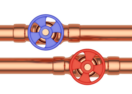 cold water: Plumbing pipeline with hot water and cold water pipes water supply system industrial construction: blue valve and red valve on two copper pipes isolated on white background, industrial 3D illustration, front view Stock Photo