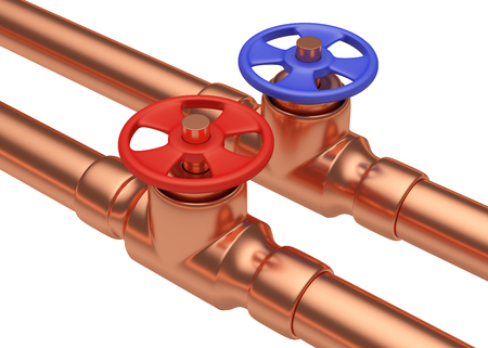 water supply: Plumbing pipeline with cold water and hot water pipes water supply system industrial construction: red valve and blue valve on two copper pipes isolated on white background, diagonal view, industrial 3D illustration Stock Photo