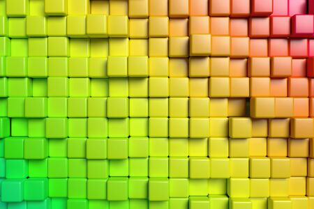 abstract 3d blocks: Abstract conceptual design of the wall: abstract colorful red and green graphic background made of colored cubes in front view, 3d illustration
