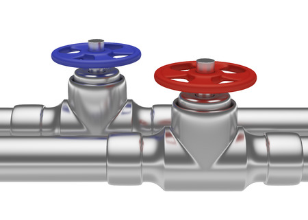 water supply: Plumbing pipeline with hot water and cold water pipes water supply system industrial construction: blue valve and red valve on two steel pipes isolated on white background, industrial 3D illustration