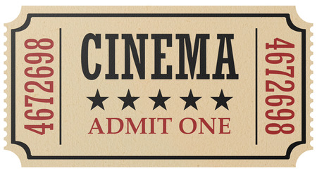Vintage retro cinema creative concept: retro vintage cinema admit one ticket made of yellow textured paper isolated on white background, closeup view, 3d illustration