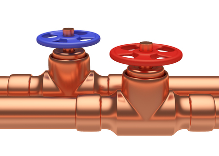 plumbing supply: Plumbing pipeline with hot water and cold water pipes water supply system industrial construction: blue valve and red valve on two copper pipes closeup isolated on white background, industrial 3D illustration Stock Photo