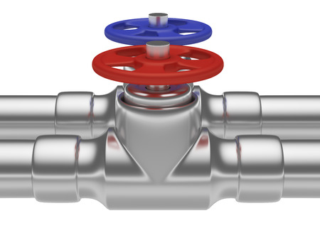 cold water: Plumbing pipeline with cold water and hot water pipes water supply system industrial construction: red valve and blue valve on two steel pipes isolated on white background, industrial 3D illustration