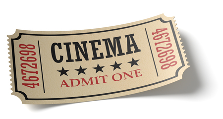 admit one: Vintage retro cinema creative concept: vintage retro cinema admit one ticket made of yellow textured paper isolated on white background with shadow closeup view, 3d illustration