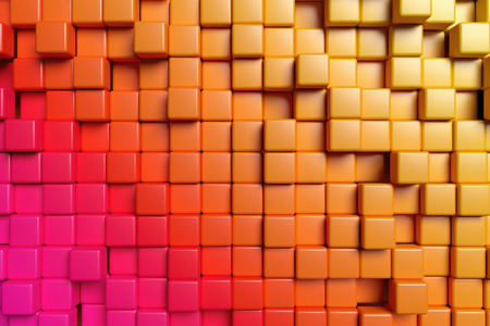 the abstract background: Abstract conceptual design of the wall: abstract orange graphic background made of colored cubes in front view, 3d illustration