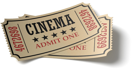 admit one: Vintage retro cinema creative concept: pair of retro vintage cinema admit one tickets made of yellow textured paper isolated on white background with shadow, closeup view, 3d illustration Stock Photo