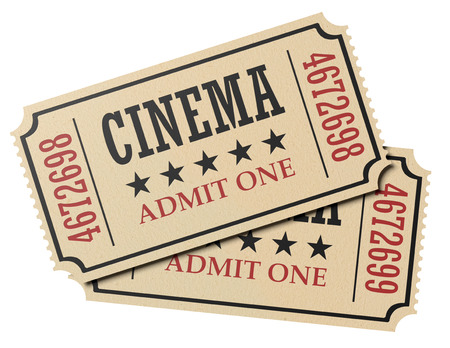 cinema ticket: Vintage retro cinema creative concept: pair of retro vintage cinema admit one tickets made of yellow textured paper isolated on white background, closeup view, 3d illustration