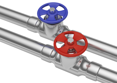 steel pipes: Plumbing pipeline with hot water and cold water pipes water supply system industrial construction: blue valve and red valve on two steel pipes isolated on white background, diagonal view, industrial 3D illustration Stock Photo