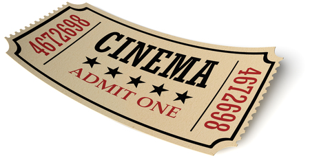 admit one: Vintage retro cinema creative concept: retro vintage cinema admit one ticket made of yellow textured paper isolated on white background with shadow, closeup view, 3d illustration
