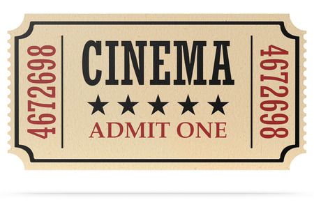 admit one: Vintage retro cinema creative concept: retro vintage cinema admit one ticket made of yellow textured paper isolated on white with shadow, closeup view, 3d illustration Stock Photo