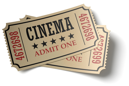 Vintage retro cinema creative concept: pair of retro vintage cinema admit one tickets made of yellow textured paper isolated on white background with shadows, closeup view, 3d illustration
