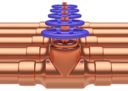 gas pipeline: Abstract creative plumbing or gas pipeline industrial concept: copper pipes series with blue valves and selective focus effect, focuse on valve with shallow depth of field, industrial 3D illustration Stock Photo