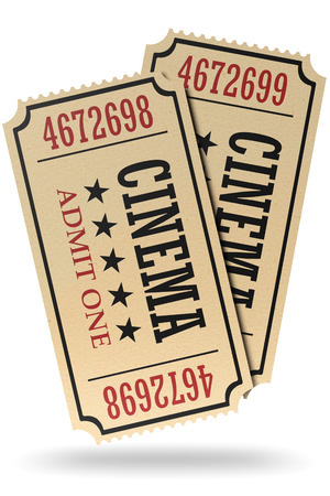 admit: Vintage retro cinema creative concept: pair of retro vintage cinema admit one tickets made of yellow textured paper isolated on white with shadow, closeup view, 3d illustration Stock Photo