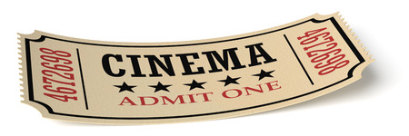 admit one: Vintage retro cinema creative concept: retro vintage cinema admit one ticket made of yellow textured paper isolated on white with shadow closeup view, 3d illustration