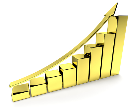 upward graph: Financial growth, investment success and financial business and banking development concept: growing bar chart made of gold with upward golden arrow with reflections isolated, 3d illustration
