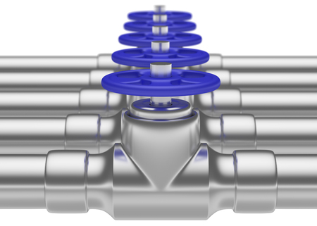 gas pipeline: Abstract creative plumbing or gas pipeline industrial concept: steel pipes series with blue valves and selective focus effect, focuse on valve, shallow depth of field, industrial 3D illustration