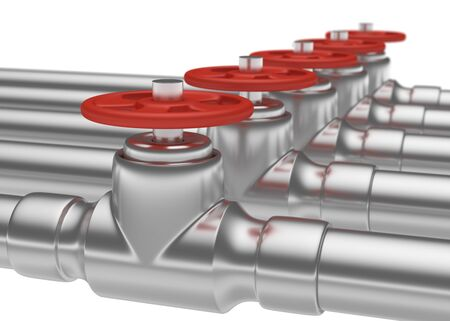 gas pipeline: Abstract creative plumbing or gas pipeline industrial concept: steel pipes series with red valves and selective focus effect, focuse on valve, shallow depth of field, industrial 3D illustration Stock Photo