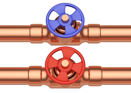 cold water: Plumbing pipeline with cold water and hot water pipes water supply system industrial construction: red valve and blue valve on two copper pipes isolated on white background, industrial 3D illustration, front view Stock Photo