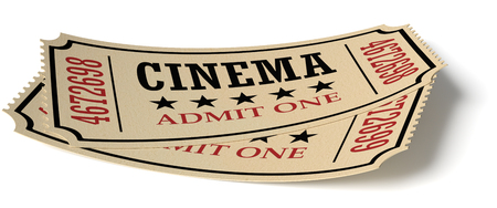 admit: Vintage retro cinema creative concept: pair of vintage retro cinema admit one tickets made of yellow textured paper isolated on white background with shadow, closeup view, 3d illustration