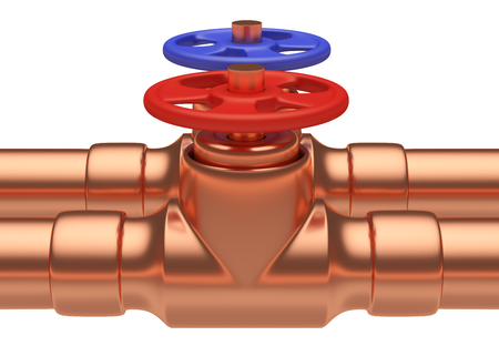 cold water: Plumbing pipeline with cold water and hot water pipes water supply system industrial construction: red valve and blue valve on two copper pipes closeup isolated on white background, industrial 3D illustration