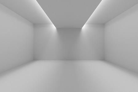 Abstract industrial architecture interior: empty room with white walls, floor and ceiling and with lights in ceiling for lighting, 3d illustration