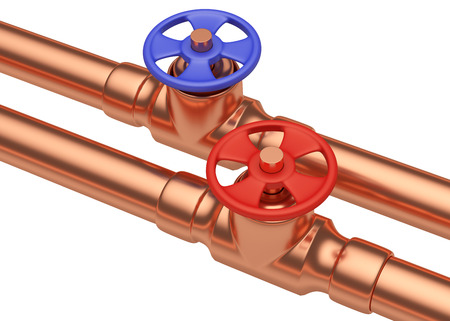 hot water tap: Plumbing pipeline with hot water and cold water pipes water supply system industrial construction: blue valve and red valve on two copper pipes isolated on white background, diagonal view, industrial 3D illustration Stock Photo
