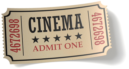admit: Vintage retro cinema creative concept: retro vintage cinema admit one ticket made of yellow textured paper isolated on white background with shadow, closeup view 3d illustration