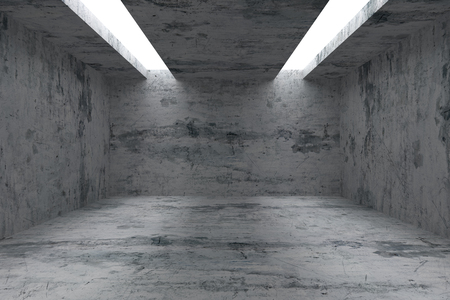 interior lighting: Abstract industrial architecture interior: empty room with dirty spotted concrete walls, floor and ceiling and with opening in ceiling for lighting, 3d illustration