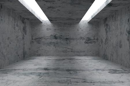 cárcel: Extracto industrial arquitectura de interiores: habitaci�n vac�a con paredes sucias manchadas de concreto, piso y techo y con abertura en el techo para la iluminaci�n, ilustraci�n 3d
