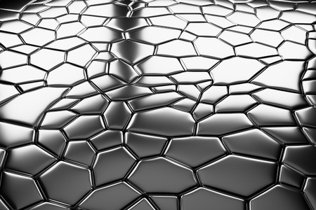 pavement: Abstract industrial creative metal construction monochrome illustration: decorative steel pavement flooring metal surface with closeup view under bright lights, industrial 3d illustration Stock Photo