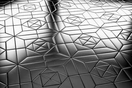 metal monochrome: Abstract industrial creative metal construction monochrome illustration: decorative steel flooring metal surface with square ornament closeup diagonal view under bright lights, industrial 3d illustration