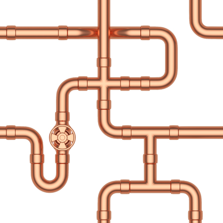 couplers: Abstract industrial construction seamless background: copper pipes, valves, tubes, fittings, couplers and other copper pipeline elements isolated on white, industrial 3d illustration Stock Photo