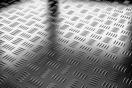flooring: Abstract industrial creative metal construction monochrome illustration: decorative steel flooring metal surface with closeup diagonal view under bright lights, industrial 3d illustration